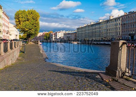 Saint Petersburg, Russia - October 12, 2017: Cityscape with Fontanka River and its embankment in cloudy autumn day