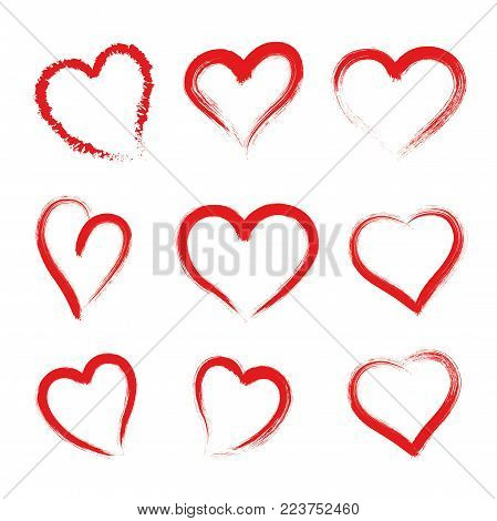 Hand drawn hearts. Design elements for Valentine's day - stock vector.