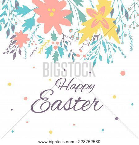 Easter banner background, template with beautiful spring flowers, wreath, leaves, dots. Modern postcard or invitation for holliday.