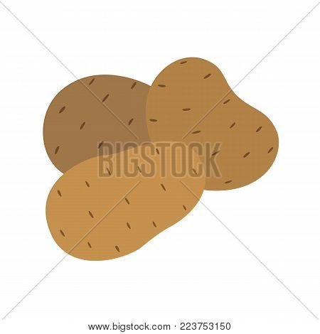 Potato vector drawing. Isolated hand drawn potatoes heap. Detailed vegetarian food sketch. Farm market product.