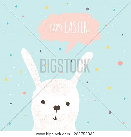 Easter banner background, template with cute banny, rabbit and text, hand drawn illustration. Modern postcard or invitation for holliday.