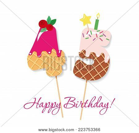 Happy Birthday card. Festive sweet numbers 45. Coctail straws. Funny decorative characters. Vector illustration