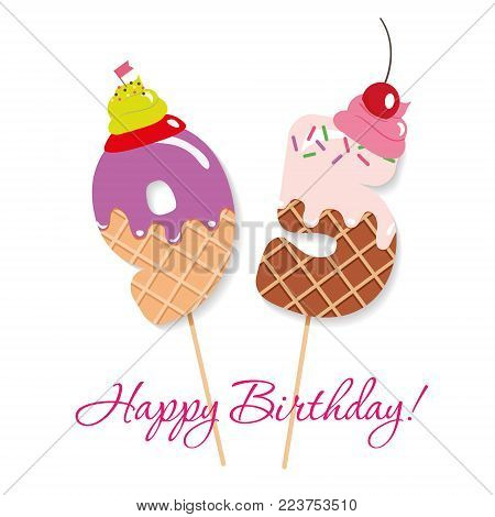 Happy Birthday card. Festive sweet numbers 95. Coctail straws. Funny decorative characters. Vector illustration
