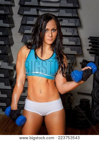 Athletic brunette woman in sportswear holds pair of dumbell.