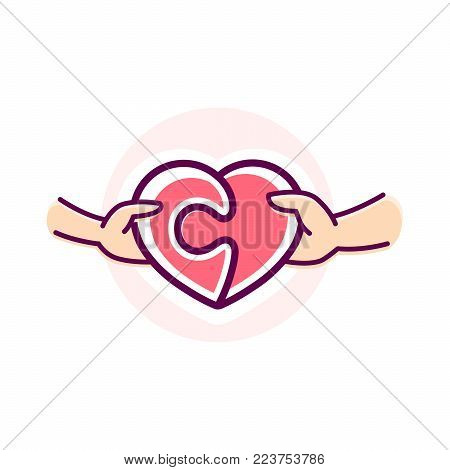 Two hand connect two elements of the heart puzzle vector illustration. Logo heart puzzle. Logo love