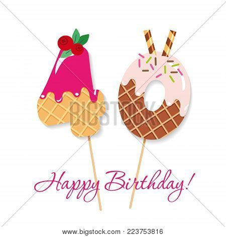 Happy Birthday card. Festive sweet numbers 40. Coctail straws. Funny decorative characters. Vector illustration