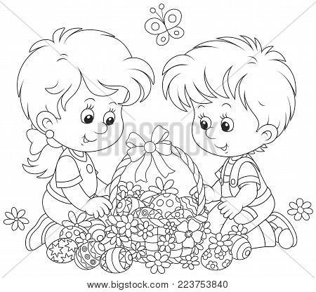Little children with a decorated Easter basket of painted eggs and flowers, a black and white vector illustration for a coloring book