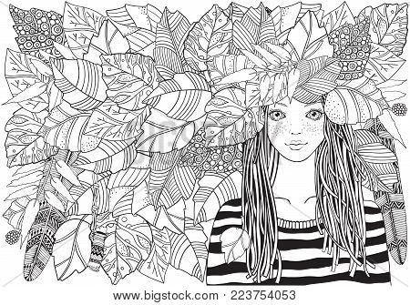Cool young girl in a striped sweater with autumn leaves . Adult Coloring book page. A4. Young woman. Black and white Hand-drawn vector illustration. Zentangle style.