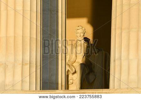 Lincoln Statue in Abraham Lincoln Memorial in Washington DC - United States
