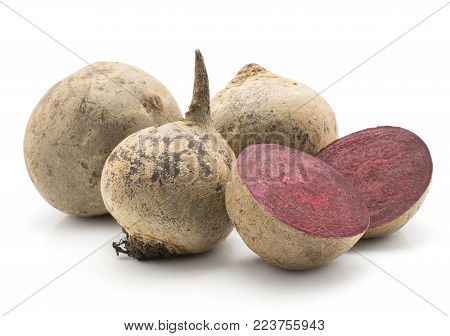Beetroot (raw red beet) set isolated on white background three bulbs and two sliced halves