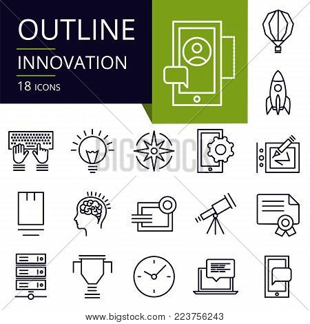 Set of outline icons of Innovation. Modern icons for website, mobile, app design and print.