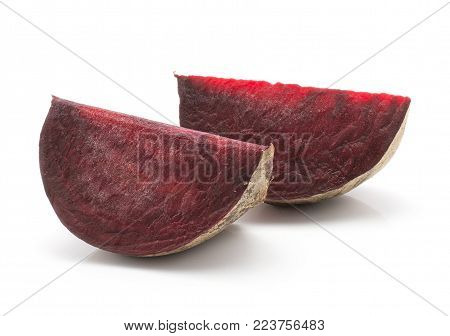 Beetroot (raw red beet) two slices isolated on white background