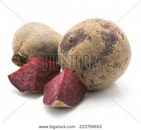 Beetroot (raw red beet) two bulbs and two pieces isolated on white background