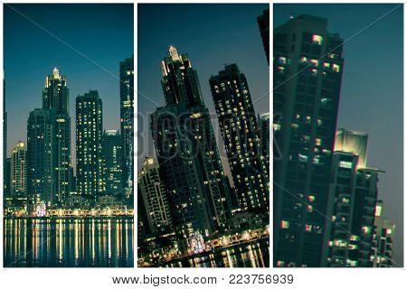 Night Cityscape Of Dubai City, United Arab Emirates