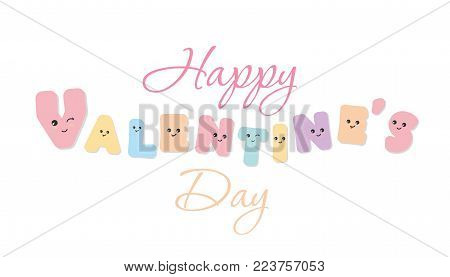 Happy Valentines day. Kawaii bold letters. Cute emoticon stickers. Isolated. Vector