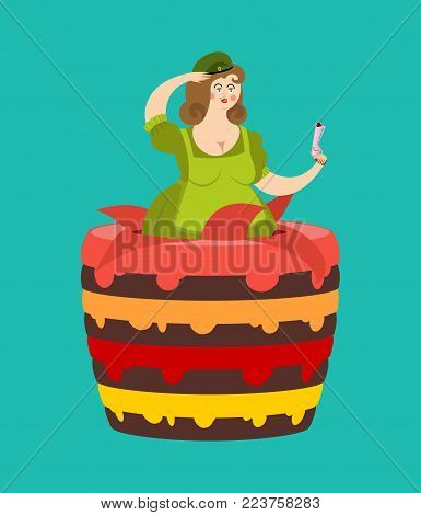 23 february. Striptease Girl from cake congratulation for Defender of Fatherland Day. National military holiday in Russia.