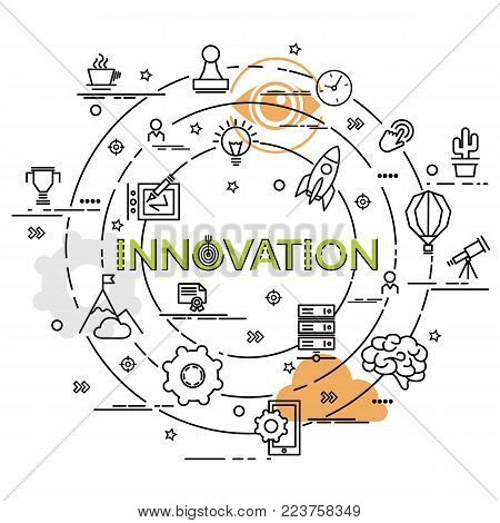 Flat colorful design concept for Innovation. Infographic idea of making creative products. Template for website banner, flyer and poster.