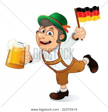 Funny Oktoberfest Man with Beer Stein and Flag of Germany.