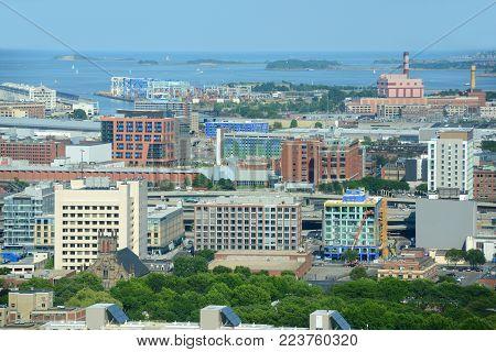 Boston Harbor and South Boston skyline in summer, Boston, Massachusetts, USA.