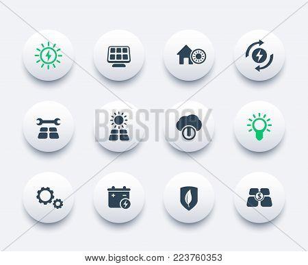 Solar energy icons set, alternative energetics, sun powered house, eps 10 file, easy to edit