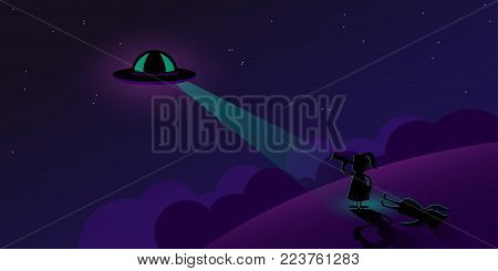 UFO banner aliens in space secret files kidnapping extraterrestrial beings alien spaceship UFO in dark night sky. Vector illustration. Eps 10.