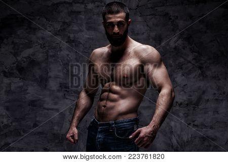 studio portrait of beardy athlete bodybuilder man over grunge concrete wall background