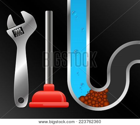 Cleaning and repair of water pipes and plumbing vector