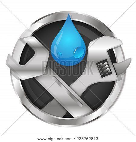 Repair of water pipes and plumbing tool symbol