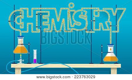 CHEMISTRY lettering. Chemical word letters formed by glass tubes with orange bubbling liquid connecting two glass flasks with blue background. Vector image