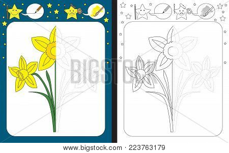 Preschool worksheet for practicing fine motor skills - tracing dashed lines - finish the illustration of daffodil