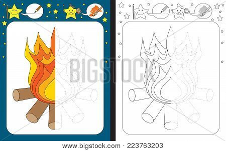 Preschool worksheet for practicing fine motor skills - tracing dashed lines - finish the illustration of fire
