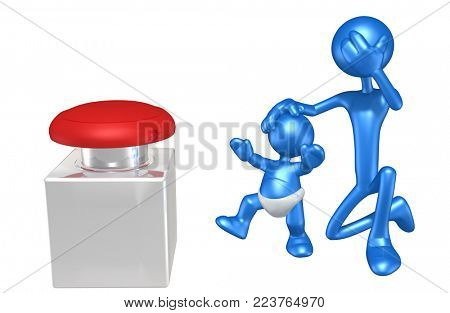 The Original 3D Character Illustration Keeping A Baby From Pressing A Button