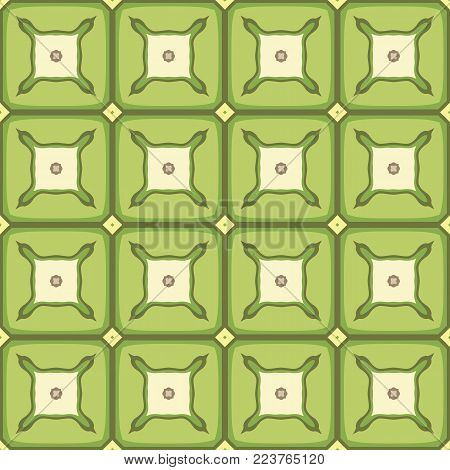 Seamless illustrated pattern made of abstract elements in beige, yellow and shades of green