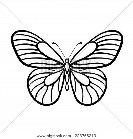 Butterfly Black And White Vector. Stained glass. Black and white silhouette of a butterfly. Illustration