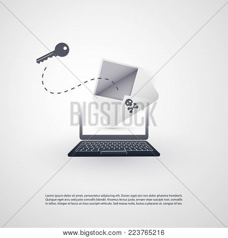 Laptop and Envelope - Backdoor Infection by E-mail - Virus, Malware, Ransomware, Fraud, Spam, Phishing, Email Scam, Hacker Attack - IT Security Concept Design, Vector illustration