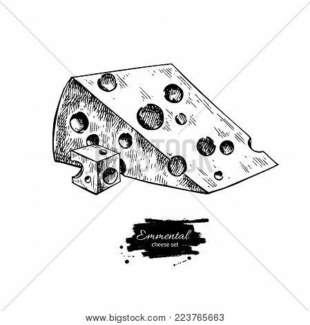 Emmental cheese  drawing. Vector hand drawn food sketch. Engraved triangle slice and cube cut. Farm market product for label, poster, icon, packaging. Dairy vintage product