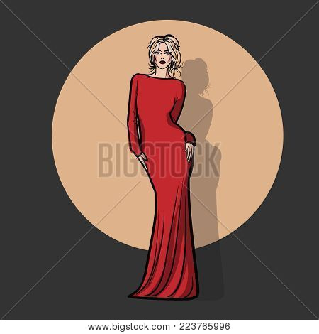 Girl in red dress. A standing blond girl in a red dress. Illustration.