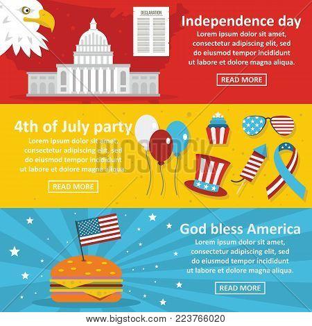 America holiday banner horizontal concept set. Flat illustration of 3 america holiday vector banner horizontal concepts for web