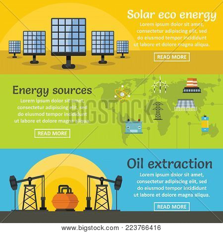 Energy sources banner horizontal concept set. Flat illustration of 3 energy sources vector banner horizontal concepts for web