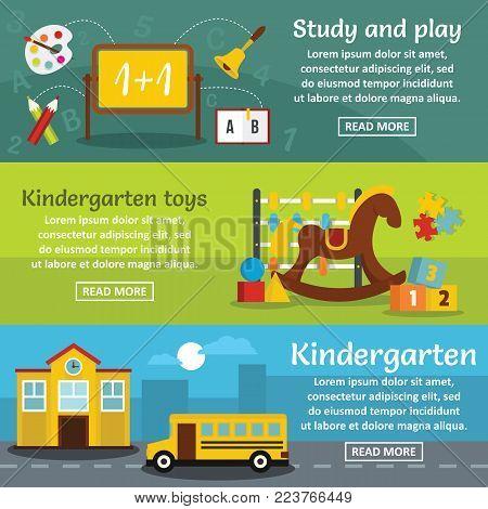 Kindergarten banner horizontal concept set. Flat illustration of 3 kindergarten vector banner horizontal concepts for web