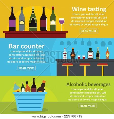 Wine tasting bar banner horizontal concept set. Flat illustration of 3 wine tasting bar vector banner horizontal concepts for web