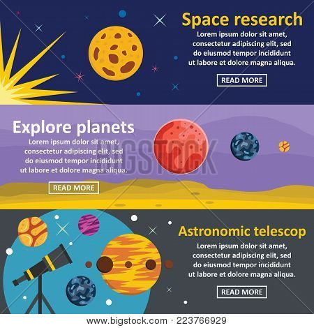Planets research banner horizontal concept set. Flat illustration of 3 planets research vector banner horizontal concepts for web