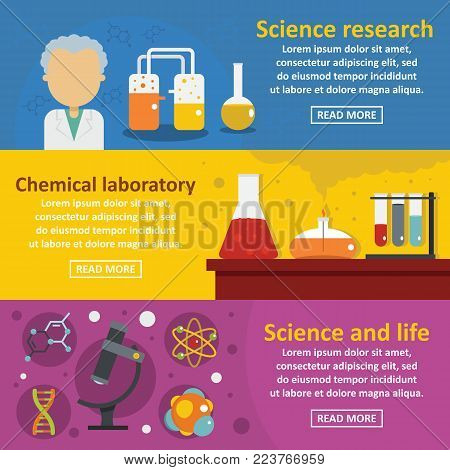 Chemical science banner horizontal concept set. Flat illustration of 3 chemical science vector banner horizontal concepts for web