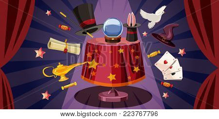 Magician table horizontal concept. Cartoon illustration of magician table banner horizontal vector for web