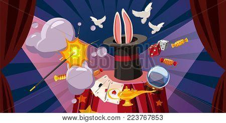 Magician explode horizontal concept. Cartoon illustration of magician explode banner horizontal vector for web