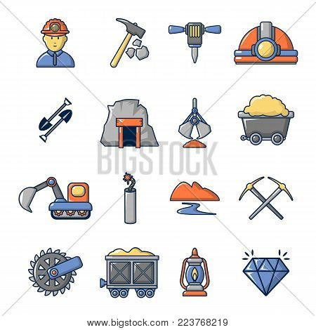 Mining minerals business icons set. Cartoon illustration of 16 mining minerals business vector icons for web