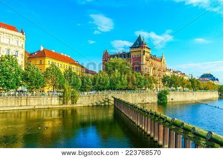 The Bellevue House And Wooden Protective Structures On The Banks Of The Vltava River In Prague, In T