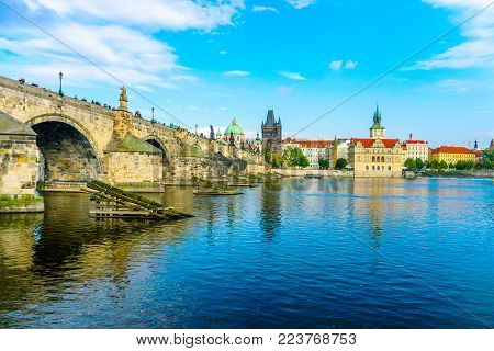 Charles Bridge In Prague In The Czech Republic. Old Town Bridge Tower. The Mill Peninsula. Sculpture