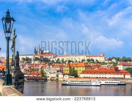 Prague Castle. The Charles Bridge. Medieval Fortress. The Vltava River. Cathedral Of St. Mikulas. Re
