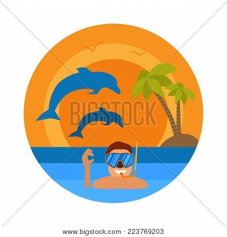 Underwater sportsman with mask and flippers. Scuba diver man in round diving suit icon. Summer diving concept with diver in wetsuit and undersea elements: snorkel, dolphin. Vector illustration
